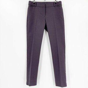 LOFT Size 8 Julie Skinny Pant Trouser Navy Red Print Career Office Pockets Mid